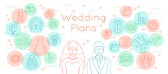 Wedding plans thin line flat background - stock illustration
