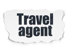 Stock Illustration of Tourism concept: Travel Agent on Torn Paper background