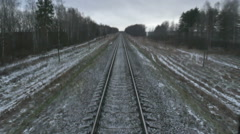 Railway, Railroad track. sleepers Stock Footage