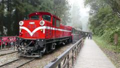 Classic Red Train Moving from forest station in the high mountain. Stock Footage