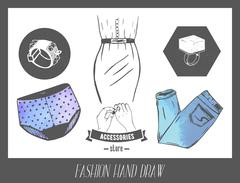 Fashion hand drawn sketch. Vector set of labels and badges for model industry - stock illustration