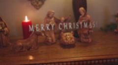 Merry Christmas Nativity Scene Slow Push In with Old Film Scratches Stock Footage