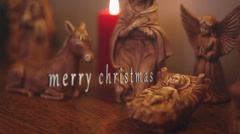 Merry Christmas Nativity with Words and Old Film Scratches Stock Footage