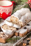 Stollen.Traditional German Christmas cake - stock photo