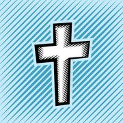 Cross Hatch Scratchboard Christian Cross - stock illustration