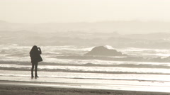 Woman Taking Photos At The Beach Stock Footage