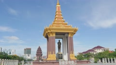 Statue of King Father Norodom Sihanouk,Phnom Penh,Cambodia Stock Footage