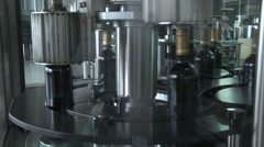 Wine Bottles Moving Along The Conveyor Line Stock Footage