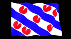 Flag of Dutch Province Friesland. Waving (PNG) computer animatie. Stock Footage