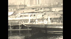 Vintage 16mm film, 1934, Sailboat, Uvera yacht in drydock #2 Stock Footage