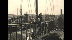 Vintage 16mm film, 1934, Sailboat, Uvera yacht in drydock #3 Stock Footage
