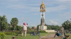 Cambodia Vietnam monument in Wat Botum park,Phnom Penh,Cambodia Stock Footage
