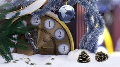 Christmas clock,earth decoration ,key and fir branches covered with snow Stock Illustration