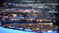 1949: Workers walking around floating logs yard water industrial zone. Stock Footage