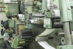 Printing labels on offset machine Stock Photos