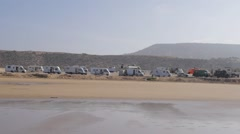 Many trailers at beach in Morocco, Africa Stock Footage