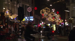 Dam square in Amsterdam with christmas Stock Footage