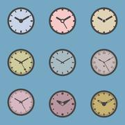 Colored Clock Icon Set - Isolated Vector Illustration Stock Illustration