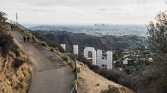 Stock Video Footage of Hollywood Sign Weekend Tourists Time Lapse in Los Angeles
