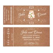 Vector Grunge Ticket for Wedding Invitation with cake and roses Stock Illustration