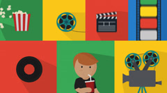 Set Of Cinema Icons Stock Footage