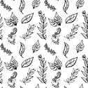 Stock Illustration of Seamless black-and-white pattern with leaves in vintage style. Seamless patte