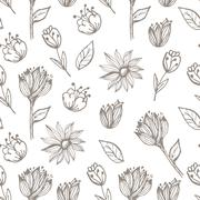 Stock Illustration of Hand drawn delicate decorative vintage seamless pattern with blossom flowers.