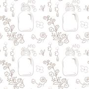 Vector floral seamless pattern. Cute bouquet of wedding flowers in a mason ja - stock illustration