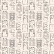 Seamless pattern. Collection of old door icon, isolated illustration vector. Stock Illustration