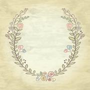 Spring flower laurel branches. Hand drawn design elements. Vector textured ba - stock illustration