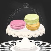 Colorful doodle macaroon on plate. Sketch macaroon. Chalkboard background. Ma - stock illustration
