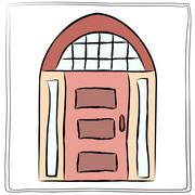 Old door icon, isolated illustration vector. Close up wooden door with simple - stock illustration