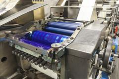 Printing labels on Label Printing machine Stock Photos