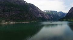 Aerial footage of Hardanger fjord in Norway Stock Footage