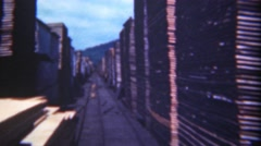 1949: Stacked lumberyard railroad track loading zone for export. TITUSVILLE, Stock Footage