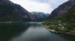 Scenic flight above Hardanger fjord in Norway, aerial footage. Stock Footage