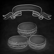Set of isolated doodle macaroon. Chalkboard background with ribbon. Sketch ma - stock illustration