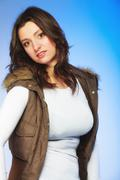 Woman in casual waistcoat. Winter fashion. Stock Photos