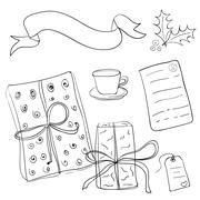 Set of vector sketch gifts. Hand drawn elements for your festive design. Chri Stock Illustration