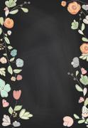 Hand drawn collection of romantic invitations on chalkboard background. Weddi - stock illustration