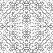 Unique coloring book square page for adults - seamless pattern tile design, j - stock illustration