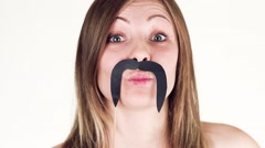 Funny Girl With a Mustache Hamming to the camera. Stock Footage
