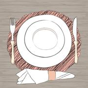 Informal vector table setting. Tableware and eating utensils are set at the t Stock Illustration