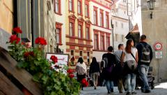View of the street with traffic sign and red flowers - people walk  Stock Footage