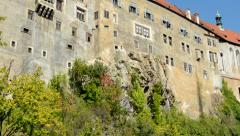 View of historical building with old facade - castle - sunny day Stock Footage