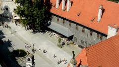 View of part of historical square - people walk on the walkside -view from above Stock Footage