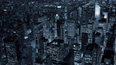 aerial view of city at night. metropolis urban landmark. new york city skyline - stock footage