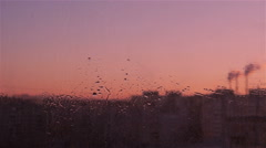 The jets of Water from the rain on the Glass Stock Footage