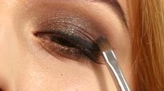 Beauty fashion. Eyelashes. Cosmetic Eyeshadow. close up Stock Footage
