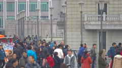 People hanging out at The Bund in Shanghai Stock Footage